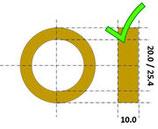 Reductie ring 25.4/20.0 x 10.0