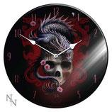 Glass Clock Eastern Dragon Skull