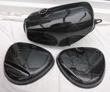 Tankset, Tank innen zusätzlich versiegelt und Seitendeckel Enduro passend Simson S50, S51 schwarz glänzend in Deutschland lackiert  Neu
