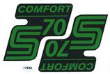2 x Comfort S70 grün/schwarz Aufkleber Seitendeckel passend Simson S70 Neu