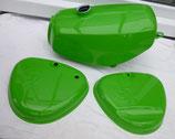 Tankset, Tank (innen zusätzlich versiegelt) und Seitendeckel Enduro passend Simson S50, S51 Saftgrün in Deutschland lackiert  Neu