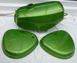 Tankset grün metallic (Tank innen zusätzlich versiegelt) passend Simson S50, S51 lackiert Neu