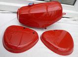 Tankset Ferrari-Rot/Karminrot, Tank (innen zusätzlich versiegelt) und Seitendeckel passend Simson S50, S51 in Deutschland lackiert  Neu