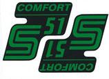 2 x Comfort Grün Aufkleber Seitendeckel passend Simson S51 Neu