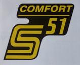2 x Comfort gelb Aufkleber Seitendeckel passend Simson S51 Neu