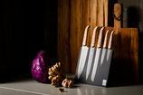 Innovation Line Kochmesserset Eichenholz Stonewash auf magnetischem Messerblock aus MDF