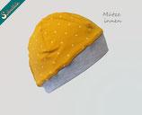 Jersey Mütze KASPER Kinder Übergangsmütze mit schönem Sternchen Innenfutter, gelb