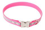 BioThane Halsband Clip 19 mm reflekt rosa