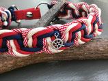 Happyflati geflochtenes Schlupf-Halsband weiss/rot/blau mix