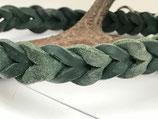 Geflochtenes Fettlederhalsband tannengrün