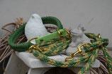 Happyflati geflochtenes Schlupf-Halsband und optional Leine green/gold