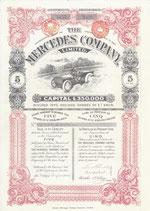 Te koop: Herdruk van een certificaat voor 5 aandelen The Mercedes Company Ltd. uit 1904.