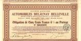 Te koop: Originele obligatie Delaunay Belleville.