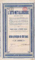 Te koop: Aandeel of obligatie L'Auto Métallurgique.