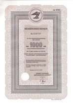 Te koop: Besserungs-schein 1000 RM Ernst Heinkel A.G. Stuttgart-Zuffenhausen uit 1962.