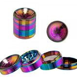 "Grinder ""GraceGlass Leaf"", rainbow, gebogen, 40mm, 4-tlg"