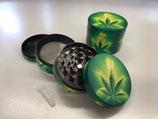 Grinder 48mm, 4-tlg, grün mit Hanfblatt