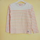 T-shirt blanc rayé saumon