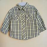 Chemise à carreaux vert fluo et noir 9 mois