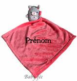 Doudou personnalisé rose grand mouchoir