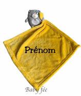 Doudou personnalisé jaune grand mouchoir