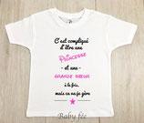 """Tee-shirt message """"c'est compliqué"""" soeur"""