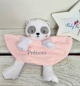 Doudou personnalisé panda rose