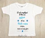 """Tee-shirt message """"c'est compliqué"""" frère"""