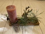 Adventsteller Rotwild mit Kerze 30x8cm