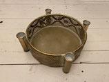 Schale Kerzenhalter für 4 Stabkerzen gold Ornament dia 28cm h8,5cm