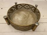 Schale Kerzenhalter für 4 Stabkerzen gold Ornament dia 37cm h10,5cm