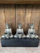 3 Buddha Teelichthalter Länge 39cm - Höhe 25cm
