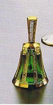 Leistenschliff Glocke grün 13 cm handgeschliffen und handbemalt mit 24-karätigem Gold veredelt