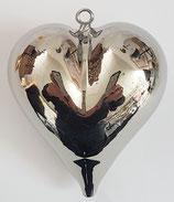 Glasherz zum hängen silber Glas, mundgeblasen Höhe  ca. 6,4 Breite ca. 6 cm Tiefe ca. 40 mm