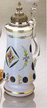 Glaskrug mit Zinndeckel Überfangemail weiss - blau Höhe ca. 26 cm handgeschliffen und handbemalt