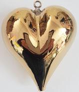 Glasherz zum hängen, gold Glas, mundgeblasenHöhe  ca. 6,4 Breite ca. 6 cm Tiefe ca. 4 mm