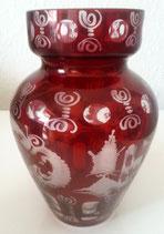 original Egermann Glasvase rot Höhe ca. 16 cm hangeschliffen