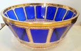 Leistenschliff Schale Durchmesser 23 cm handgeschliffen und handbemalt mit 24-karätigem Gold veredelt