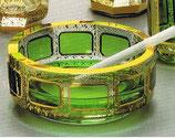 Leistenschliff Aschenbecher grün Durchmesser 13 cm Höhe 5 cm handgeschliffen und handbemalt mit 24-karätigem gold veredelt