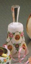 Überfangemail Tischglocke goldrubin-weiss Höhe 13 cm handgeschliffen und handbemalt