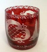 Egermann Glasbecher rot mundgeblasen und handgeschliffen Höhe ca. 8,5 cm