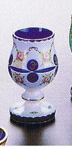 Überfangemail Freunschaftsbecher Höhe 15,5 cm weiss-blau handgeschliffen und handbemalt
