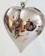 Glasherz zum hängen Kristall Glas silber mundgeblasen Höhe  ca. 9,5 Breite ca. 9 cm Tiefe ca. 60 mm