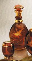 Flasche Egermann Amber-Lazur handgeschliffen Inhalt 1 L. ohne Gläser