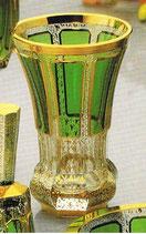 Leistenschliff Freunschaftsbecher grün 14,5 cm handgeschliffen und hanbemalt mit 24-karätigem Gold veredelt