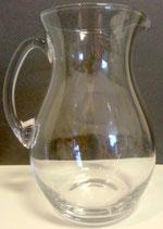 Glaskrug klar mundgeblasen, Inhalt 1,5 L.,Höhe ca 20 cm, Öffnung Oben mit Ausgiesser