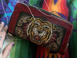 THE LONG WALLET WITH TOOLED AND COLORED TATTOO DESIGN