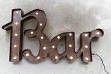 Bar LED Leuchtschrift  Grösse L Vintage Rusty Metall Design