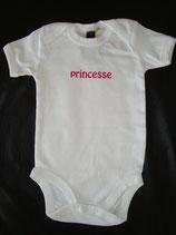 """Body bedruckt """"princesse"""" weiss-pink 3-6 Monate"""