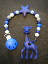 Beisskette Giraffe dunkelblau